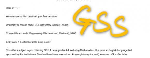 喜报:英国的伦敦大学学院UCL录取通知!