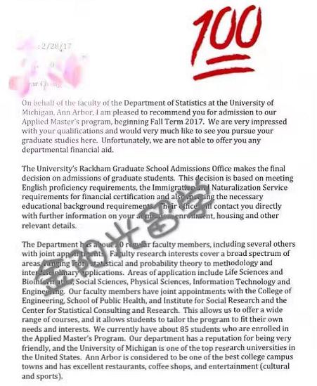 【成功案例】密歇根大学安娜堡分校offer
